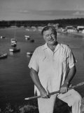 Author Ernest Hemingway Posing in Cojimar Harbor Premium Photographic Print by Alfred Eisenstaedt