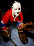 Jacques Plante, Goalie of the Montreal Canadiens Wearing a Mask Premium Photographic Print