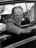 Author Vladimir Nabokov Looking Out Car Window. He Likes to Work in the Car, Writing on Index Cards Premium Photographic Print by Carl Mydans