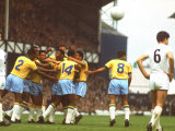 Teammates Mobbing Brazilian Soccer Star Pele after a Goal Vs. Hungary During World Cup Competition Premium Photographic Print