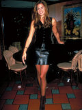 Actress Model Cindy Crawford Wearing Black Vest and Leather Skirt at Party Premium Photographic Print by Dave Allocca