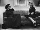 Dame Edith Sitwell Talking W. Actress Marilyn Monroe Premium Photographic Print