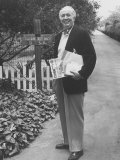 Actor Walter Brennan Standing in Front of His Home with Mail Premium Photographic Print by J. R. Eyerman