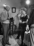 "Director Howard Hawks with Actress Angie Dickinson Between Scenes on Set for ""Rio Bravo"" Premium Photographic Print by Allan Grant"