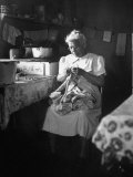American Indian, Dr. L. R. Minoka Hill, Sewing in Kitchen Window Light Premium Photographic Print by Martha Holmes