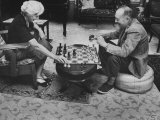 Author Vladimir Nabokov Playing Chess with His Wife Premium Photographic Print by Carl Mydans