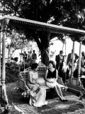 Mrs. John F. Kennedy with Mrs. Indira Gandhi During Her Visit to India Premium Photographic Print
