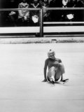 Figure Skater Janet Lynn Smiling after Falling During a Practice Session During the 1968 Olympics Premium Photographic Print by John Dominis