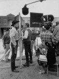 "Actor Clint Walker Standing with His Stand-In Clyde Howdy on the Set of ""Cheyenne"" Premium Photographic Print by Allan Grant"