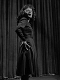 Singer Edith Piaf with Hands on Hips, Standing on Stage Premium Photographic Print by Gjon Mili
