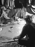 Native American Indian Men in Home Making Sand Drawings Photographic Print by Loomis Dean