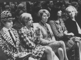 Singer Barbra Streisand Sitting with Marlene Dietrich at Fashion Show Premium Photographic Print