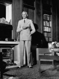Mohammed Ali Jinnah, Pres. of India's Moslem League, Dressed in Western-Style Suit in his Study Premium Photographic Print by Margaret Bourke-White
