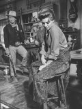 "Actress Angie Dickinson on Set for ""Rio Bravo"" with Actor John Wayne Premium Photographic Print by Allan Grant"