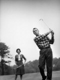 Astronaut Alan B. Shepard and His Wife Playing Golf Premium Photographic Print by Ralph Morse