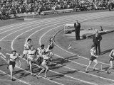 Runner Dropping Baton, Causing Australia to Lose Relay at 1952 Olympics Premium Photographic Print