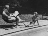 Director Joshua L. Logan Studying a Movie Script with Young Actress Jane Fonda Premium Photographic Print by Allan Grant