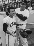 Angels Player Albie Peason Wearing Wings and Halo, Helped by Bill Rigney Premium Photographic Print by Ralph Crane