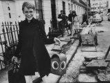 Actress Mia Farrow Holding a Construction Lantern Premium Photographic Print