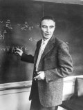 J. Robert Oppenheimer Working Out Physics Equations on the Blackboard in His Office Premium Photographic Print by Alfred Eisenstaedt