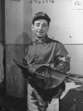 Jockey Johnny Longden Smiling and Holding Saddle Premium Photographic Print by Martha Holmes