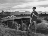 Architect Paolo Soleri Standing Outside His Underground, Concrete House Premium Photographic Print