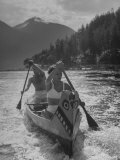 William Holden and His Wife Brenda Enjoying a Canoeing Trip Together Premium Photographic Print by Allan Grant