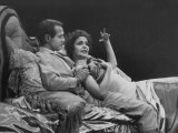 "Actress Geraldine Page and Actor Paul Newman Acting in the Play, ""Sweet Bird of Youth"" Premium Photographic Print"