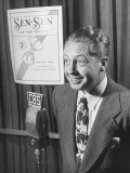 Larry Taylor Singing on Cbs Radio During a Commercial to Advertise Sen-Sen Premium Photographic Print by Martha Holmes