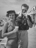 Married Actors Marjorie Lord and John Archer at Beach During Summer Stock Stint Premium Photographic Print by Alfred Eisenstaedt