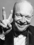Gop Presidential Candidate Dwight D. Eisenhower Smiling While Holding Up His Hand for Victory Premium Photographic Print