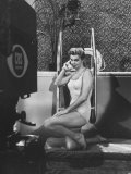 """Actress, Swimmer Esther Williams Talking on Phone During Rehearsal for Cbs TV Show """"The Big Party"""" Premium Photographic Print by Peter Stackpole"""