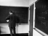 J. Robert Oppenheimer, Working Out Physics Formulas on Blackboards Premium Photographic Print by Alfred Eisenstaedt