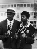 Ralph Boston Shown W. His Gold Medal for Broad Jump, Won in Olympics, W. Sprinter Wilma Rudolph Premium Photographic Print