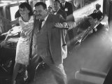 "Ann Warner, with Jackie Gleason in Lounge Car of ""Gleason Express"" Announcing His Return to Tv Premium Photographic Print by Allan Grant"