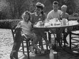 Actress Joan Crawford and Her Husband, Philip Terry, Having a Picnic with their Adopted Children Premium Photographic Print by Peter Stackpole