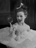 "Actress Jeanne Crain Taking Bubble Bath for Her Role in Movie ""Margie"" Premium Photographic Print by Peter Stackpole"