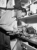 Golfer Ben Hogan Working on Golf Club in Workshop Premium Photographic Print by Martha Holmes