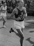 Emil Zatopek Running in Marathon at 1952 Olympics Premium Photographic Print