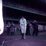 Baseball Player Babe Ruth in Uniform at Yankee Stadium Premium Photographic Print by Ralph Morse