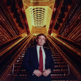 Real Estate Tycoon Donald Trump Poised in Trump Tower Atrium Premium Photographic Print by Ted Thai