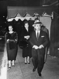 Gangster Mickey Cohen Walking with His Girlfriends Barbara Darnell and Liz Renay Premium Photographic Print by Allan Grant