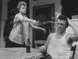 "Actors Anthony Franciosa and Shelley Winters Performing in a Scene from the Play ""Hat Full of Rain"" Premium Photographic Print"