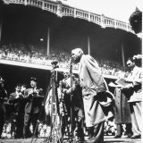 An Ailing Babe Ruth Thanking Crowd During Babe Ruth Day at Yankee Stadium Premium Photographic Print by Ralph Morse
