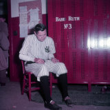 Baseball Player Babe Ruth in Uniform at Yankee Stadium Premium Photographic Print by Ralph Morse