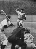 Dodger Don Newcombe Lunging Forward During the End of His Wind-Up Pitch to the Batter Premium Photographic Print
