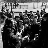 Activist Folk Musician Woody Guthrie Playing for a Crowd of Young New Yorkers in a Park Premium Photographic Print