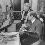 Maurice Utrillo Painting an Old Scene, While Discussing it with Artist Wife, Lucie Valore Premium Photographic Print by Dmitri Kessel