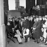 Activist Folk Musician Woody Guthrie Playing for a Crowd of New Yorkers Premium Photographic Print