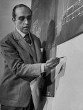 Brazilian Architect Oscar Niemeyer Discussing Design for the United Nations Headquarters Buildings Premium Photographic Print